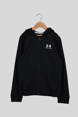 Under Armour, Cipzáros pulóver kapucnival és logóval, Fekete, 14Y Standard
