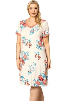 Női hálóing,nagy méretű,rövid ujjú,virágmintás,csipkeszegélyes V nyakú,fehér-kék-barack,3XL