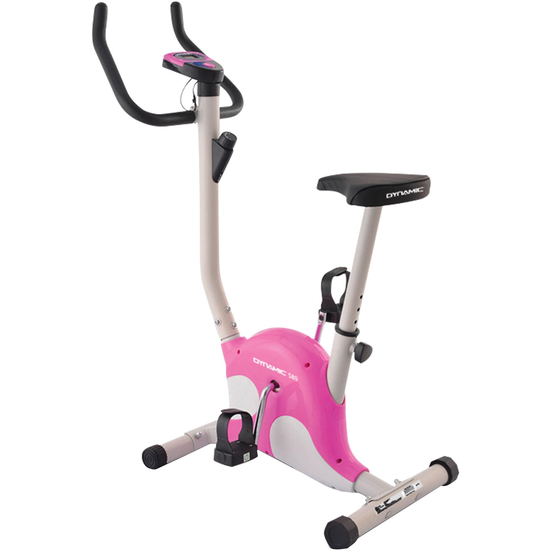 Fotografie Bicicleta fitness mecanica DYNAMIC S80, greutate maxima utilizator 90kg, culoare alb-roz