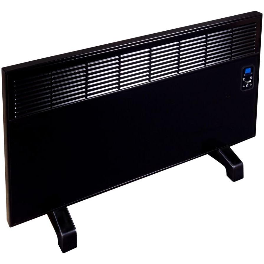 Fotografie Convector de perete sau pardoseala iVigo EPK 2000 W Black Glass, control electronic, Termostat de siguranta, termostat reglabil, IP 24, pentru 24 mp, ERP 2018