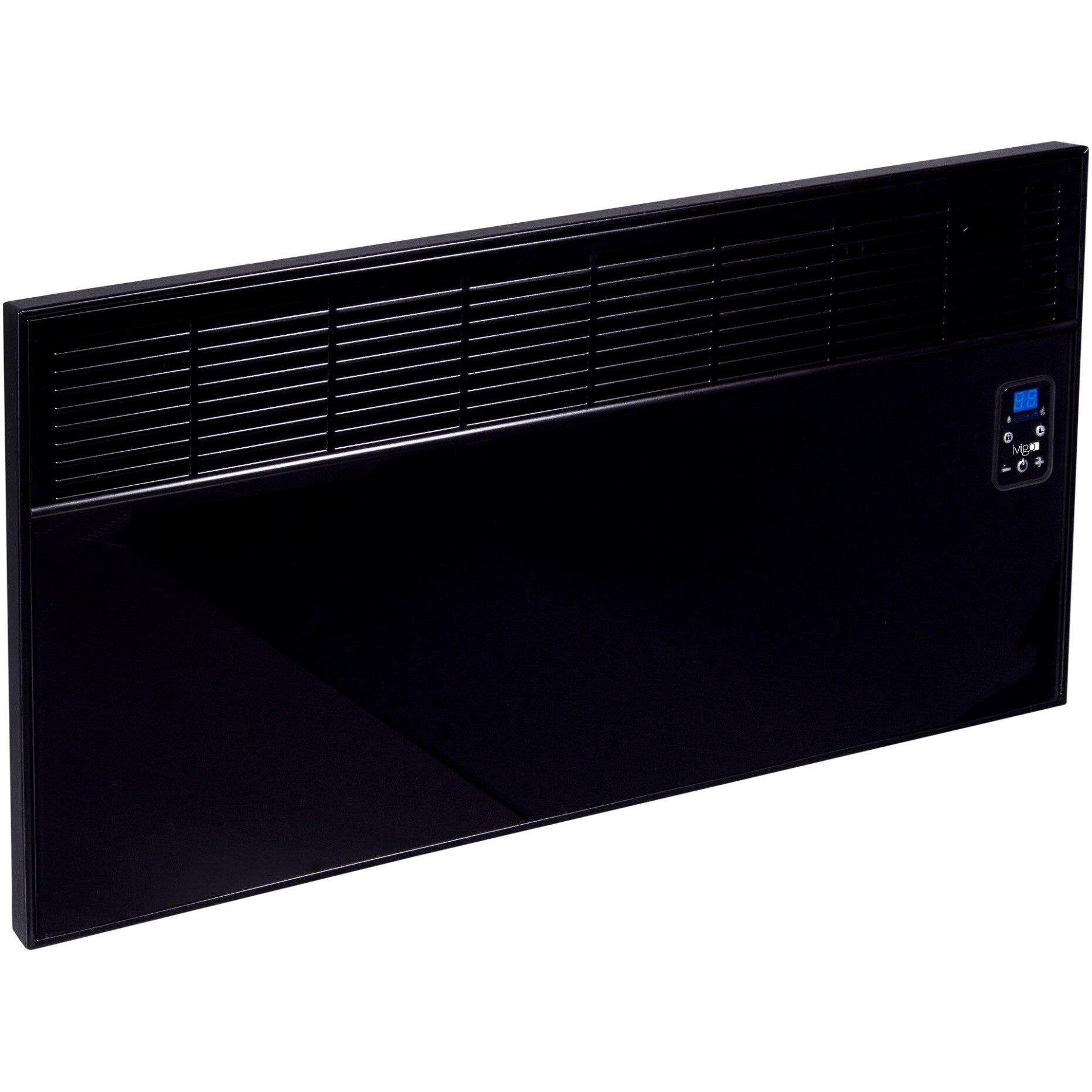 Fotografie Convector de perete sau pardoseala iVigo EPK 2500 W Black Glass, control electronic, Termostat de siguranta, termostat reglabil, IP 24, pentru 28 mp, ERP 2018