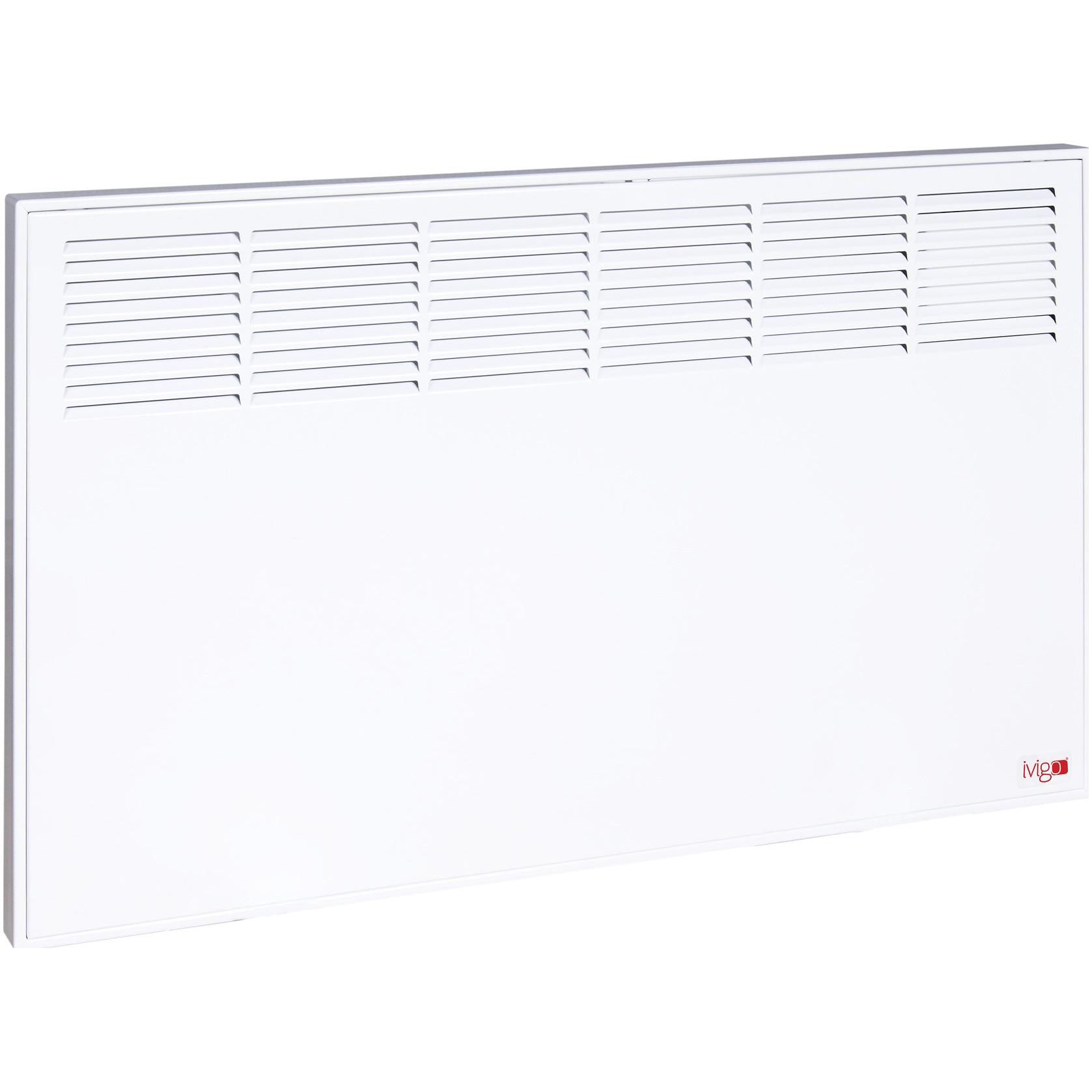 Fotografie Convector iVigo Manual EPK 1000 W White, control mecanic, Termostat de siguranta, termostat reglabil, IP 24, pentru 12 mp, ERP 2018