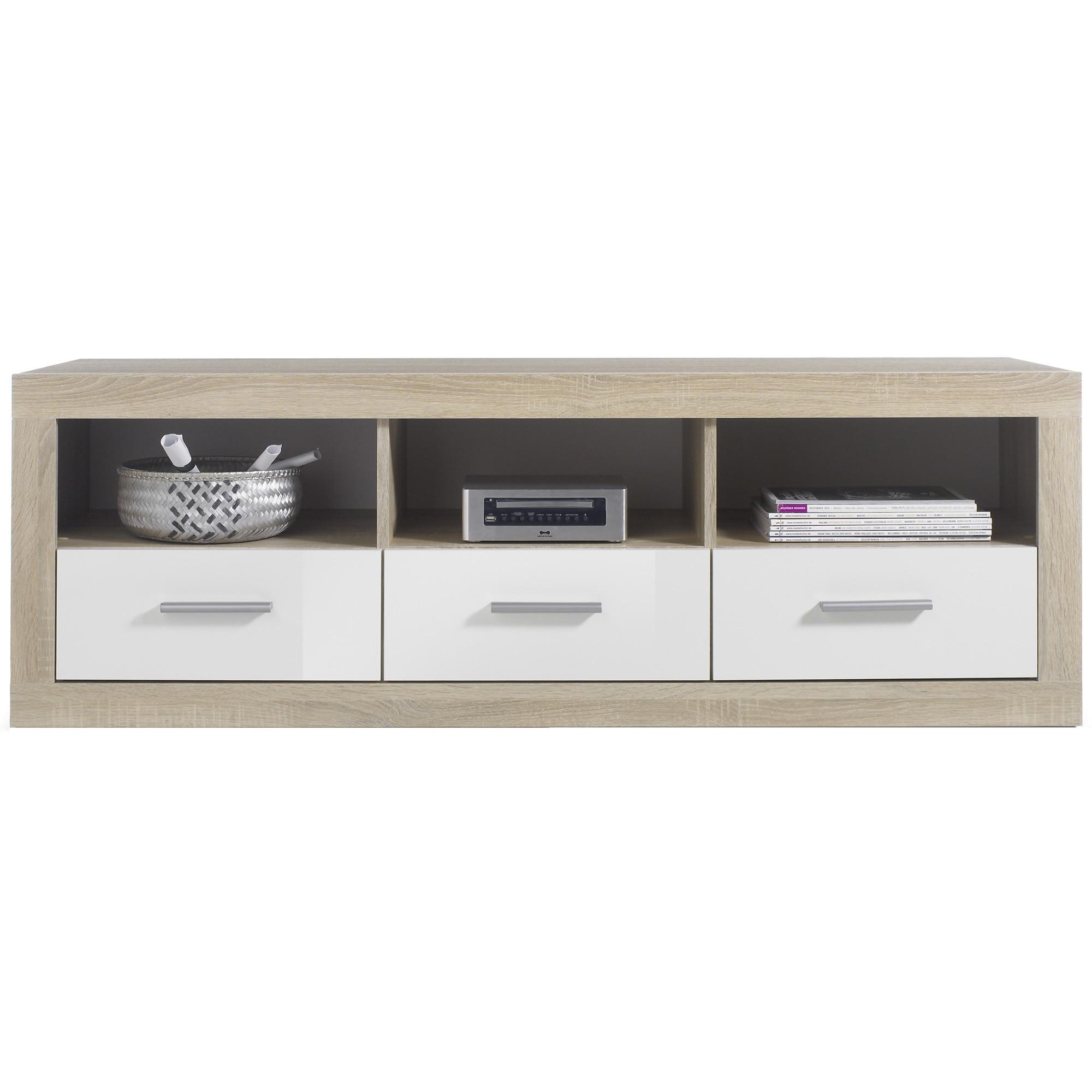 Fotografie Comoda TV CAN CAN, 147x49x45 cm, 3 sertare, front Alb, laterale Stejar- San Remo