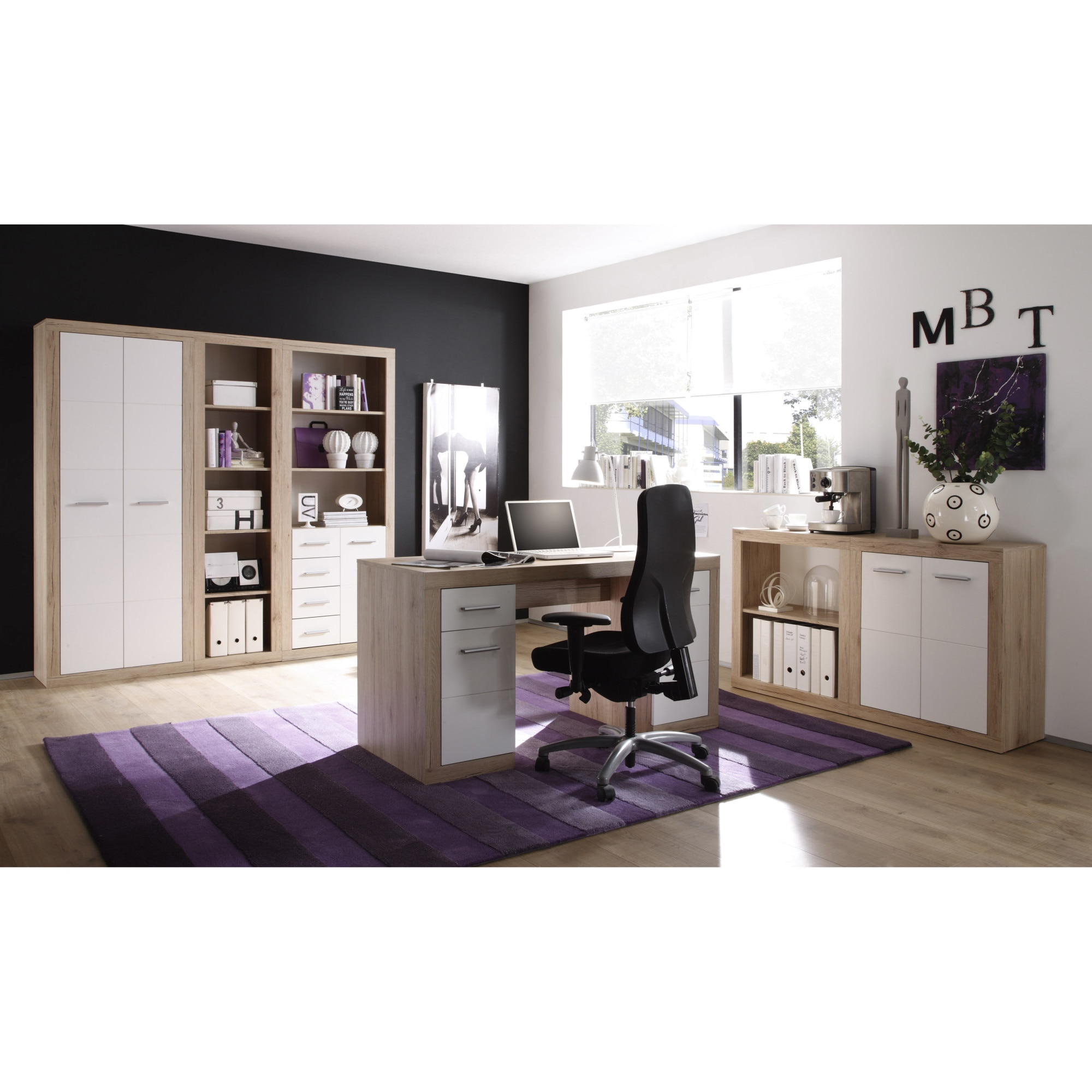 Fotografie Raft /dulap Office CAN CAN, 74x188x37 cm, 2 usi front Alb, laterale Stejar- San Remo