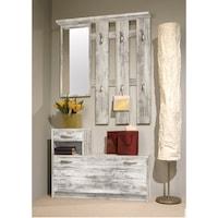 Vera előszoba bútor, 100x25x190 cm, fogas tükörrel és akasztóval, cipőtartó, Színes antikolt tölgy