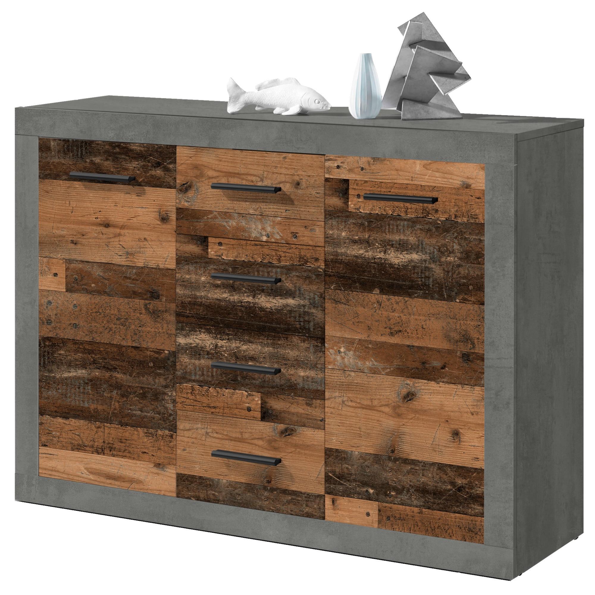 Fotografie Comoda TEAM 117x88x37 cm, 2 usi, 4 sertare, culoare Gri, Old Wood