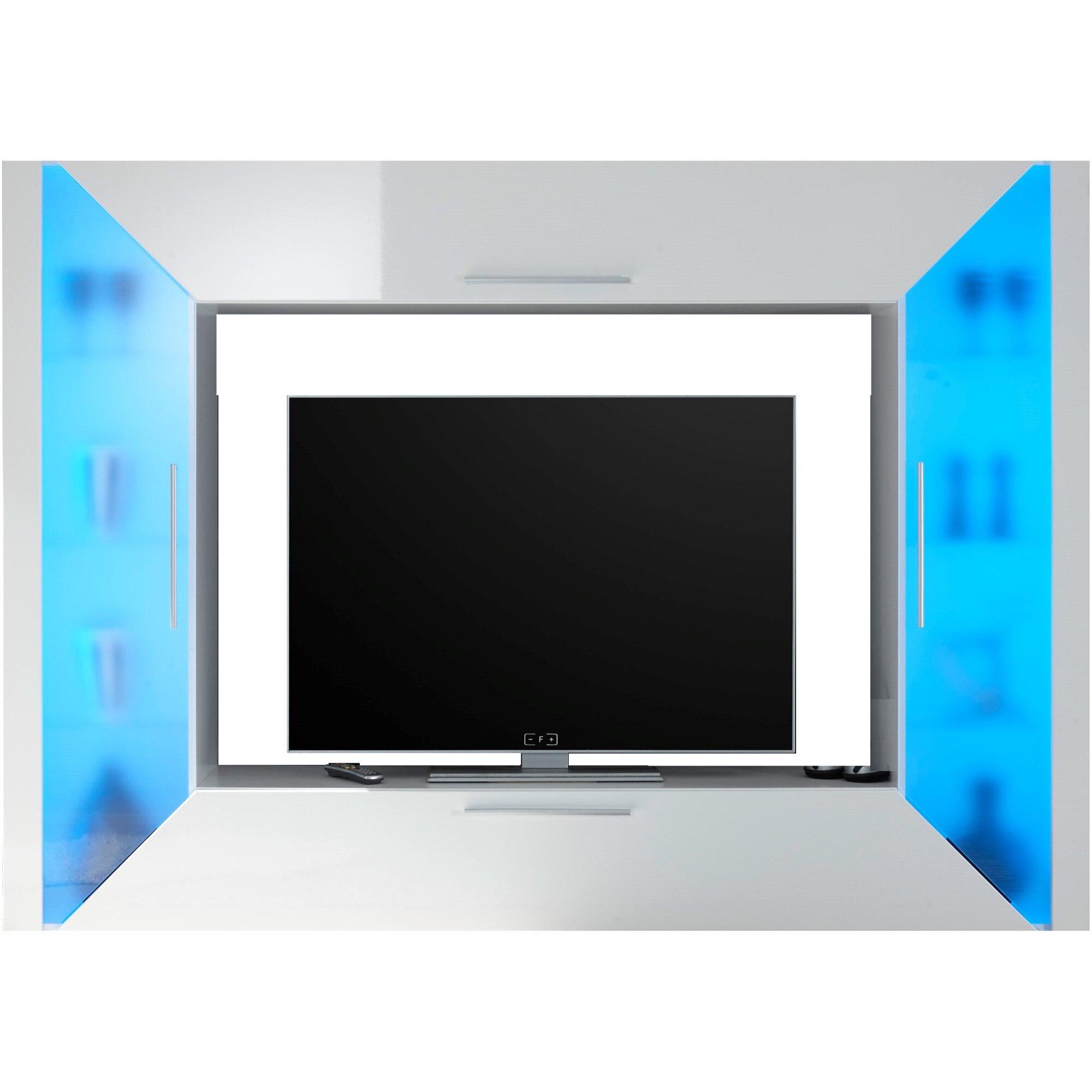 Fotografie Living Edge, 226x163x40 cm, 4 usi, iluminare LED, culoare Alb/Transparent