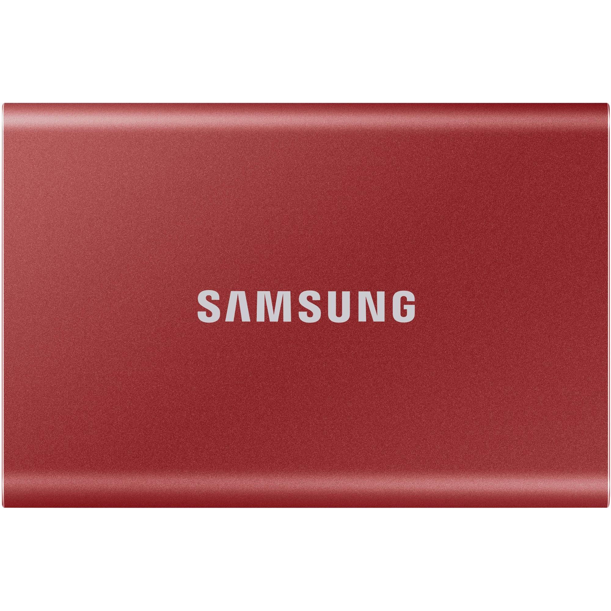 Fotografie SSD extern Samsung T7 portabil, 1TB, USB 3.2, Metallic Red