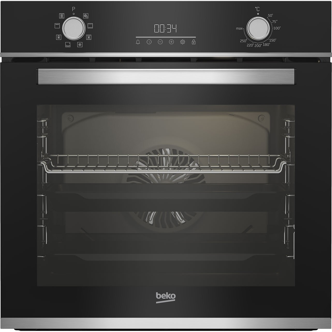 Fotografie Cuptor incorporabil Beko BBIM13300XM, Electric, 72 l, Autocuratare catalitica, Display touch control, SteamShine Cleaning, Grill, 3D Cooking, Clasa A, Sticla neagra