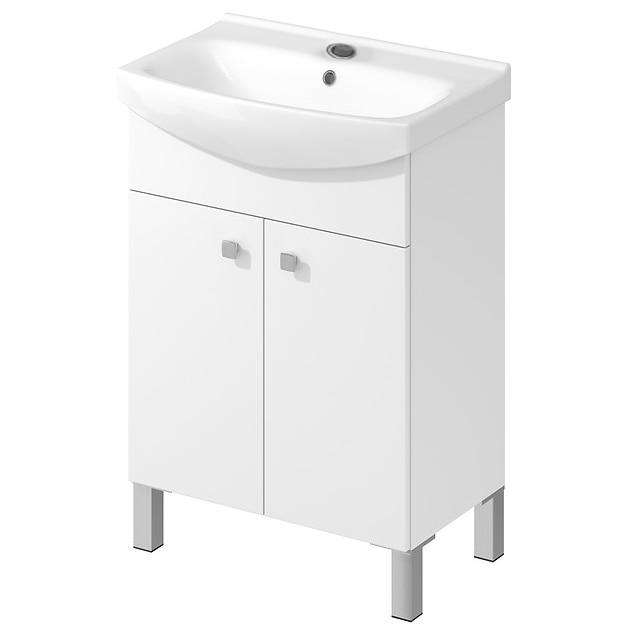 Fotografie Set baza mobilier Cersanit Sati + lavoar Cersanit Cersania, PAL, dimensiuni 60.5x41.5x85 cm, Alb