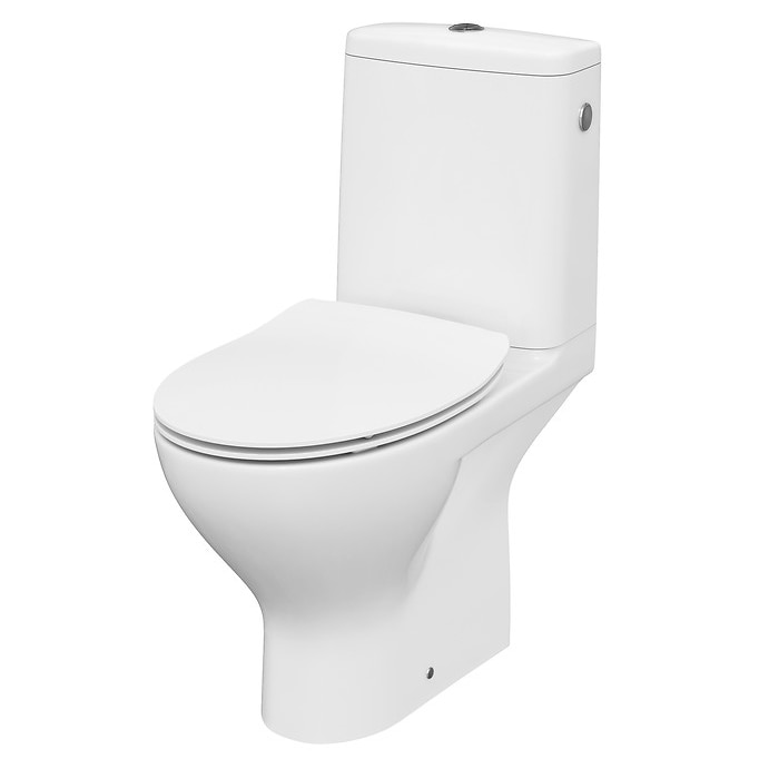 Fotografie Set vas WC + rezervor Cersanit Compact 670 MODUO 43, Clean ON, evacuare orizontala, rezervor 3/5 L, capac WC slim duroplast, inchidere lenta