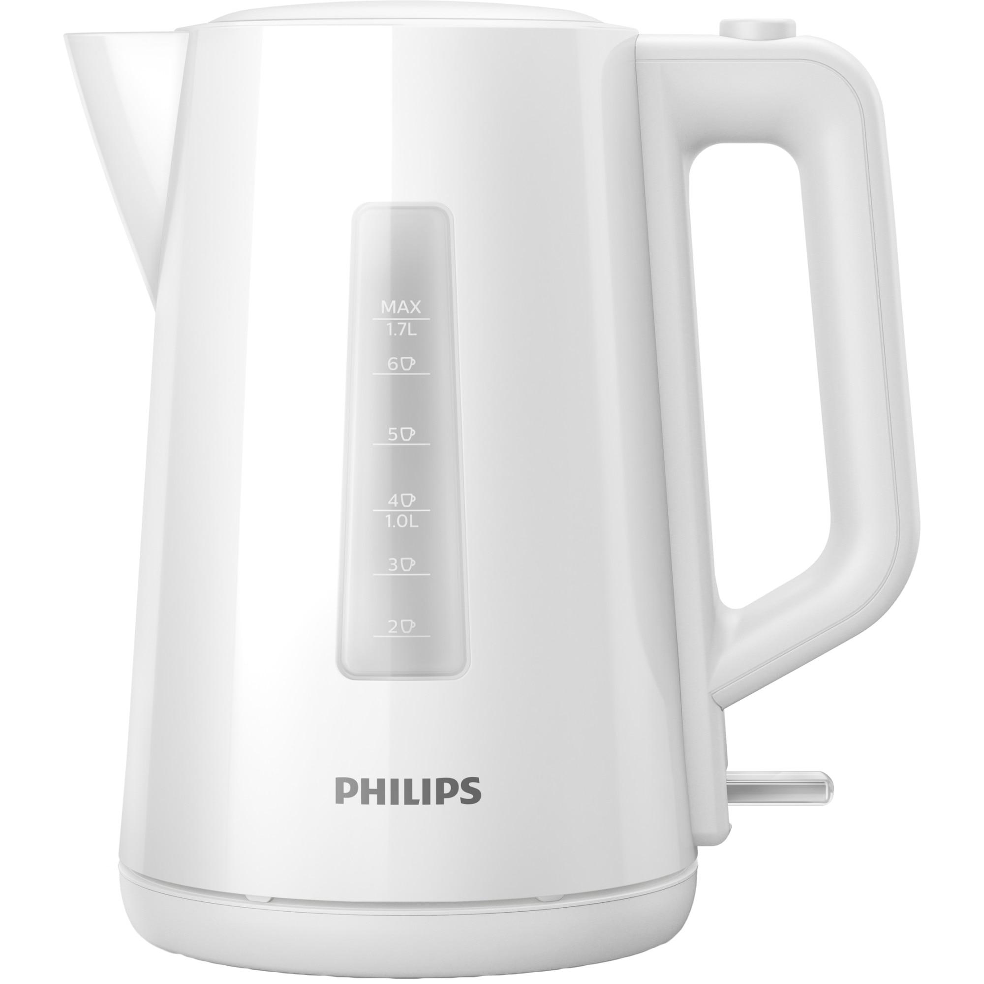 Fotografie Fierbator Philips HD9318/00, 1.7 l, capac cu resort, plastic, indicator luminos, Alb
