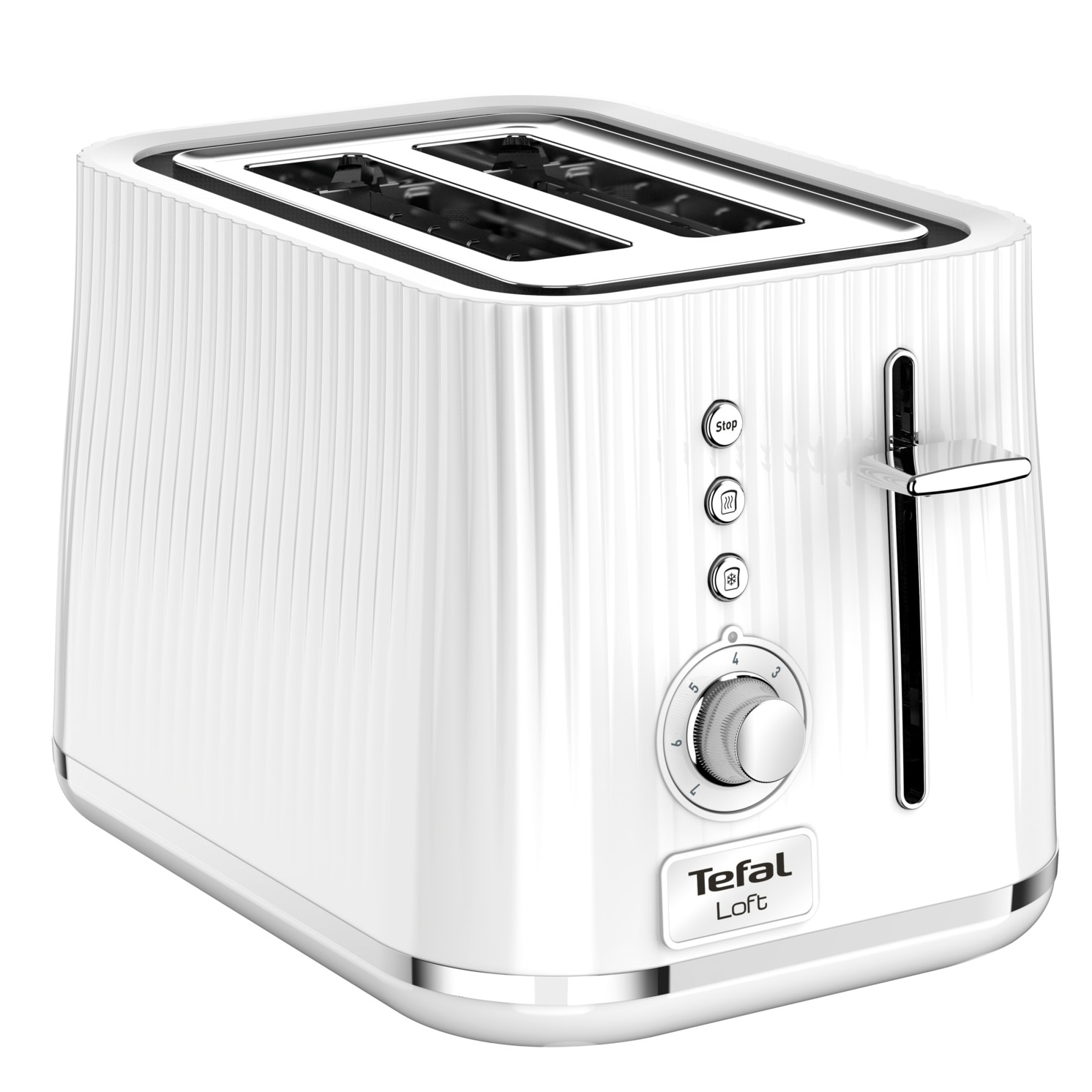 Fotografie Toaster TEFAL Loft TT761138, 7 niveluri de rumenire, 3 functii dedicate, iluminare LED, tava firmituri, alb