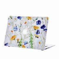"MacBook New Air 2018 - 2020 Retina tok, 13"", transparent with flowers, védőtok típusú"