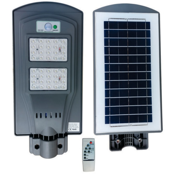 Fotografie Lampa iluminat stradal cu panou solar Ultra Bright, 40W, senzor miscare si lumina, telecomanda, acumulator 10000mA, Li-ion 3.2V, IP65, temperatura lumina rece (6400K)