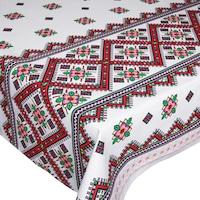 Fata de masa traditionala, BonDia, Model Traditii 103, 150 cm x 300 cm, Bumbac, Alb/Rosu, Geometric/Flori/Traditional