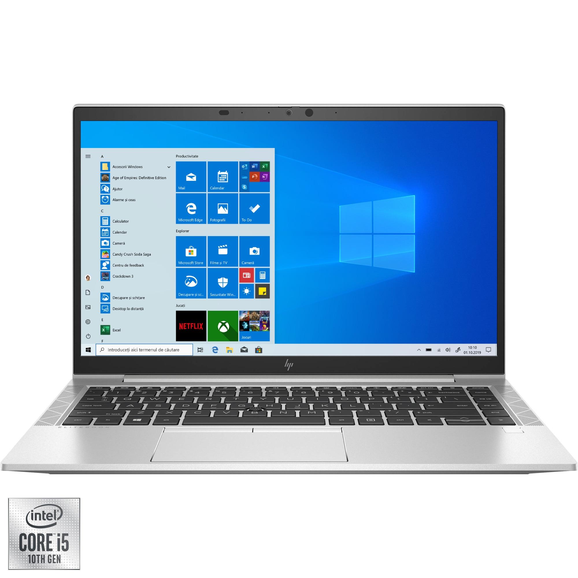 "Fotografie Laptop ultraportabil HP EliteBook 840 G7 cu procesor Intel Core i5-10210U pana la 4.20 GHz, 14"", Full HD, 8GB, 256GB SSD, Intel UHD Graphics, Windows 10 Pro, Silver"