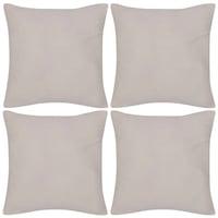 Комплект памучни калъфки за възглавници, vidaXL, 4 броя, 40 х 40 см, Бежово