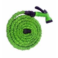 Разтегателен градински маркуч, С пистолет за поливане, Зелен, 60 м