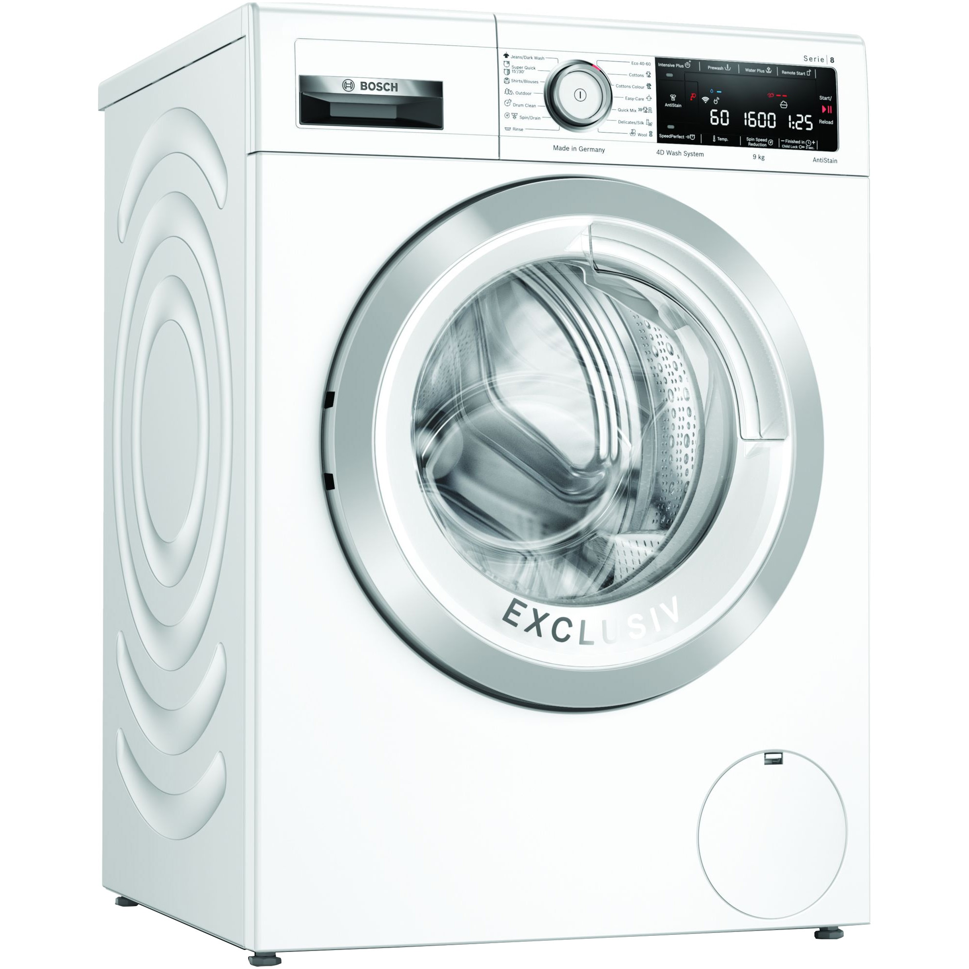 Fotografie Masina de spalat rufe Bosch WAX32MH0BY, 9 kg, 1600 RPM, Clasa C, Home Connect, EcoSilence Drive, AntiPete, Super Quick 30, Alb