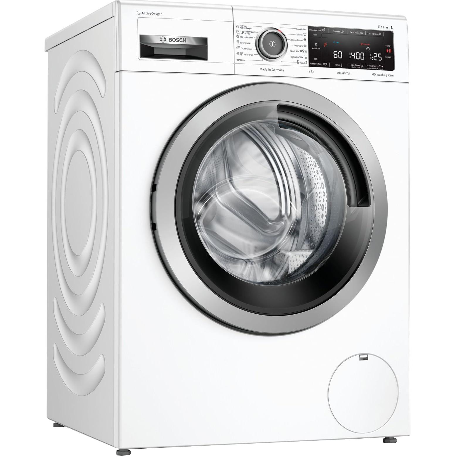 Fotografie Masina de spalat rufe Bosch WAV28L90BY, 9 kg, 1400 RPM, Clasa B, EcoSilence Drive, ActiveOxygen, AntiPete, Alb