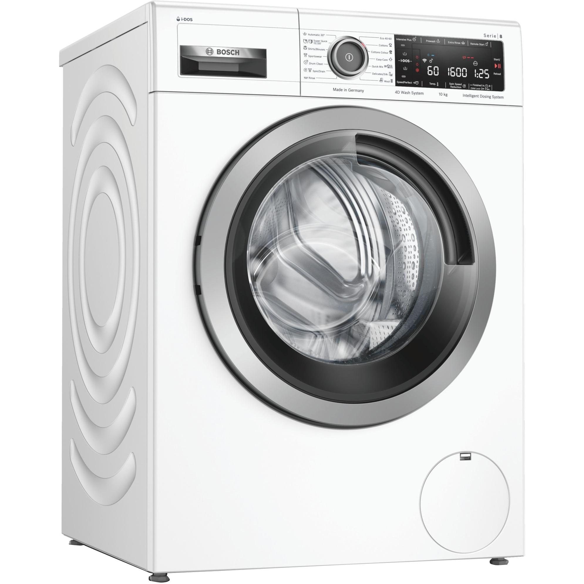 Fotografie Masina de spalat rufe Bosch WAX32KH1BY, 10 kg, 1600 RPM, Clasa C, Home Connect, i-DOS, EcoSilence Drive, Super Quick 30, Alb