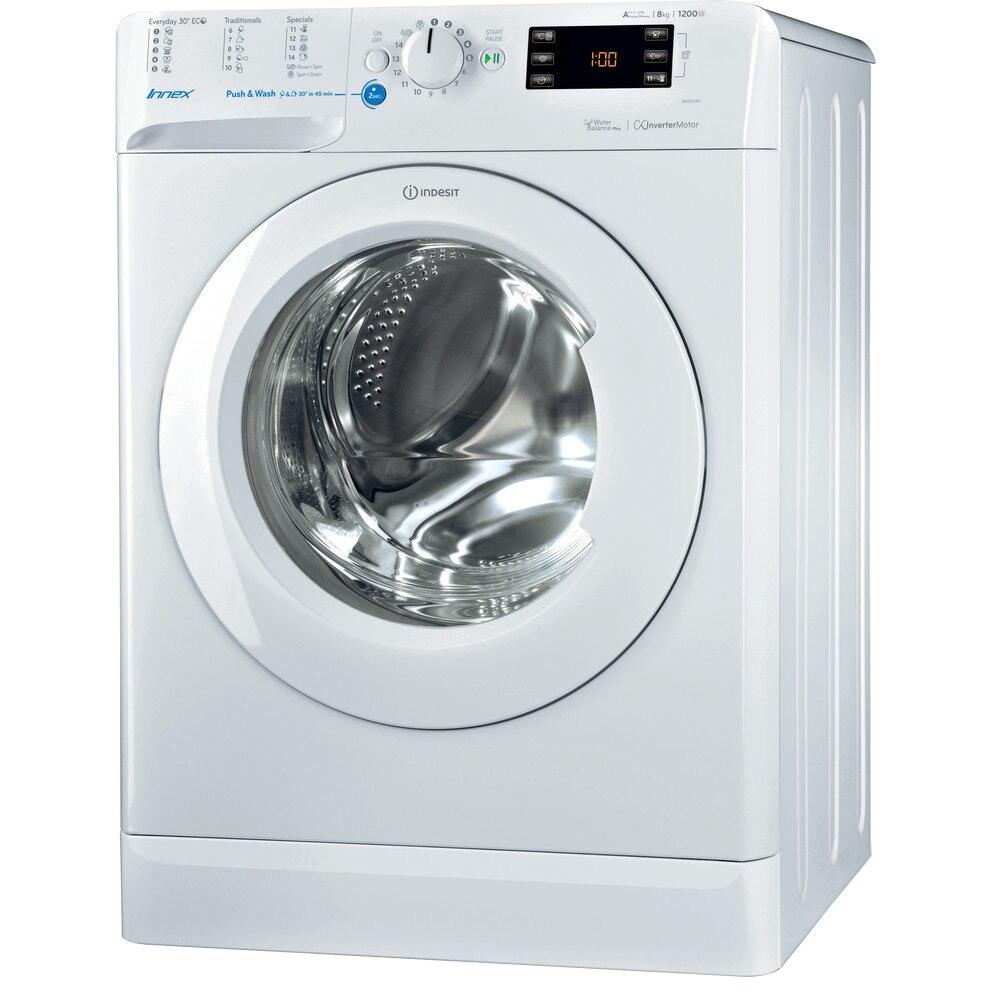 Fotografie Masina de spalat rufe Indesit BWE 81284X W EU, 8 kg, 1200 rpm, Clasa C, Water Balance Plus, Push&Wash, Alb