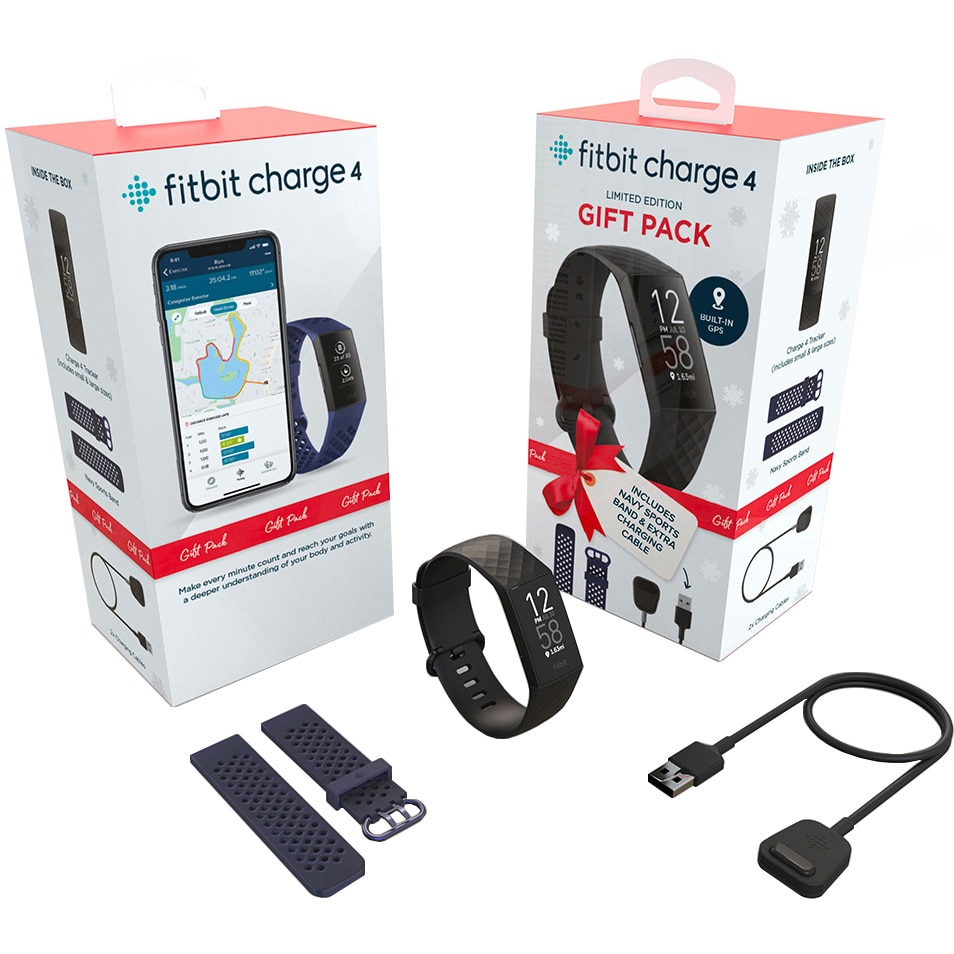 Fotografie Gift Pack Fitbit Charge 4 (1x Black, 1x Navy Band, 2x Chargers) (NFC)