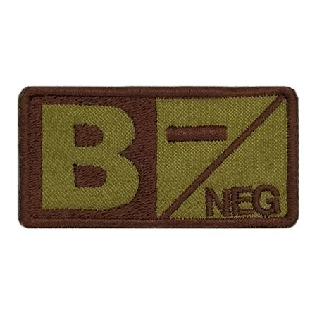 Emblema brodata, grupa sanguina, B negativ, maro, 3,5X7, cu arici