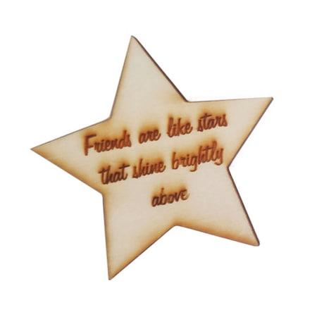 Magnet de frigider, Friendship quote I, din lemn gravat, 7x7 cm
