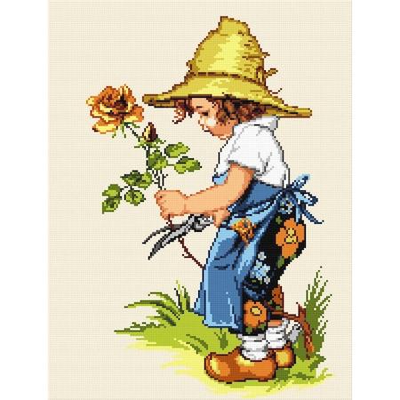 Goblen Trandafirul copilariei , Hudemas , kit goblen cu diagrama alb negru , cu fire mouline