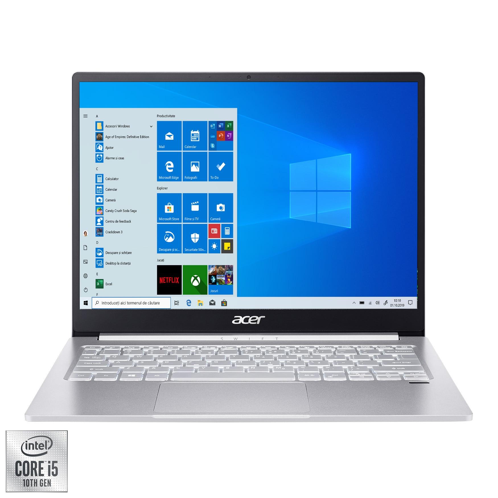 "Fotografie Laptop ultraportabil Acer Swift 3 SF313-52 cu procesor Intel® Core™ i5-1035G4 pana la 3.70 GHz, 13.5"", QHD, 8GB, 512GB SSD, Intel UHD Graphics, Windows 10 Pro, Silver"