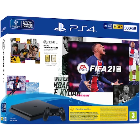Конзола SONY PlayStation 4 Slim, 500GB, Jet Black + Игра FIFA 21 + PSPlus 14 days + Ваучер FIFA 21 Ultimate Team