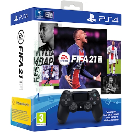 Controller Sony PlayStation DualShock 4 v2, Negru + Joc FIFA 21 + PSPlus 14 zile + voucher FIFA 21 Ultimate Team pentru PlayStation 4