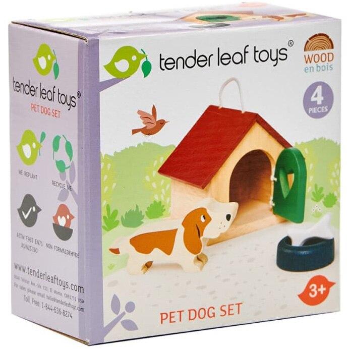 Fotografie Set figurine din lemn Tender Leaf Toys - Catelus, 4 piese