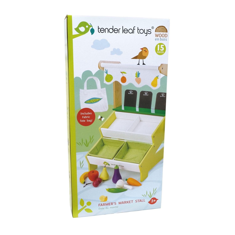 Fotografie Set de joaca din lemn Tender Leaf Toys - Standul din piata al fermierului, 15 piese