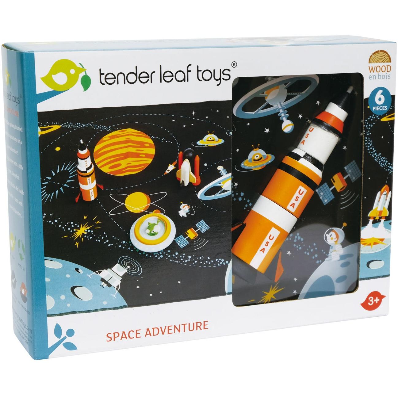 Fotografie Set de joaca din lemn Tender Leaf Toys - Aventura in spatiu, 6 piese