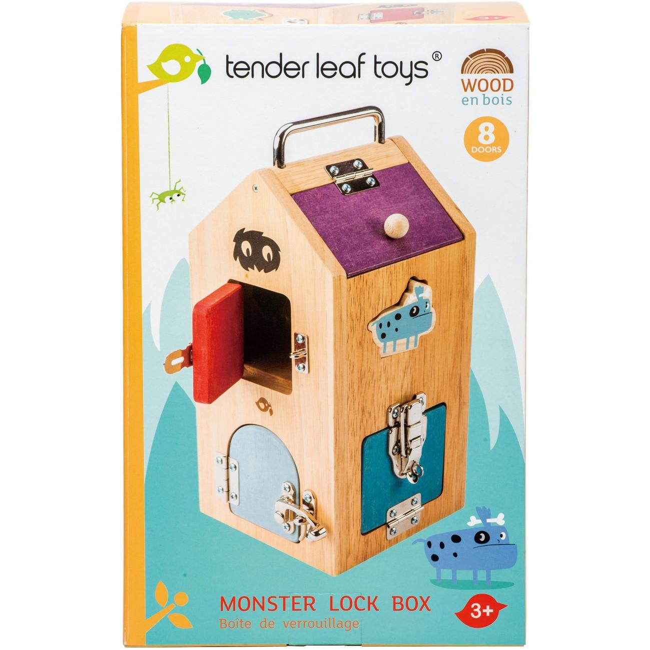 Fotografie Set de joaca din lemn Tender Leaf Toys - Monstruletii din cutia incuiata, 8 usi