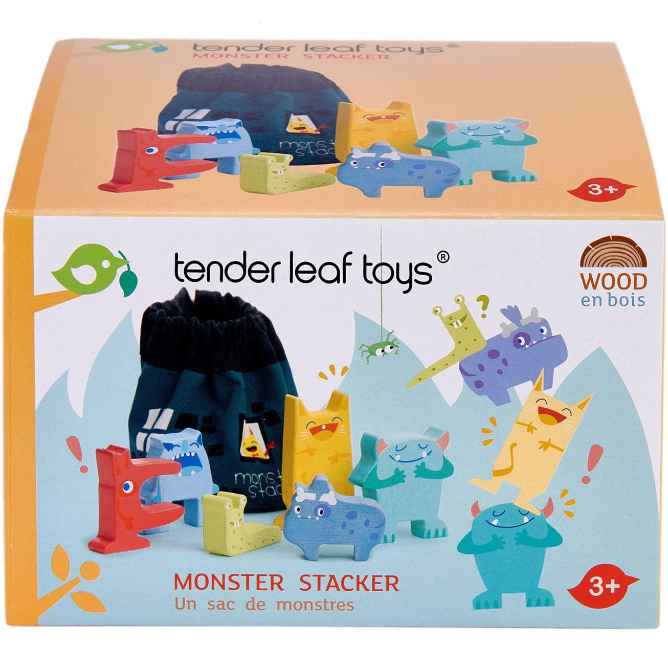Fotografie Set de joaca din lemn Tender Leaf Toys - Monstruletii din saculet, 7 piese