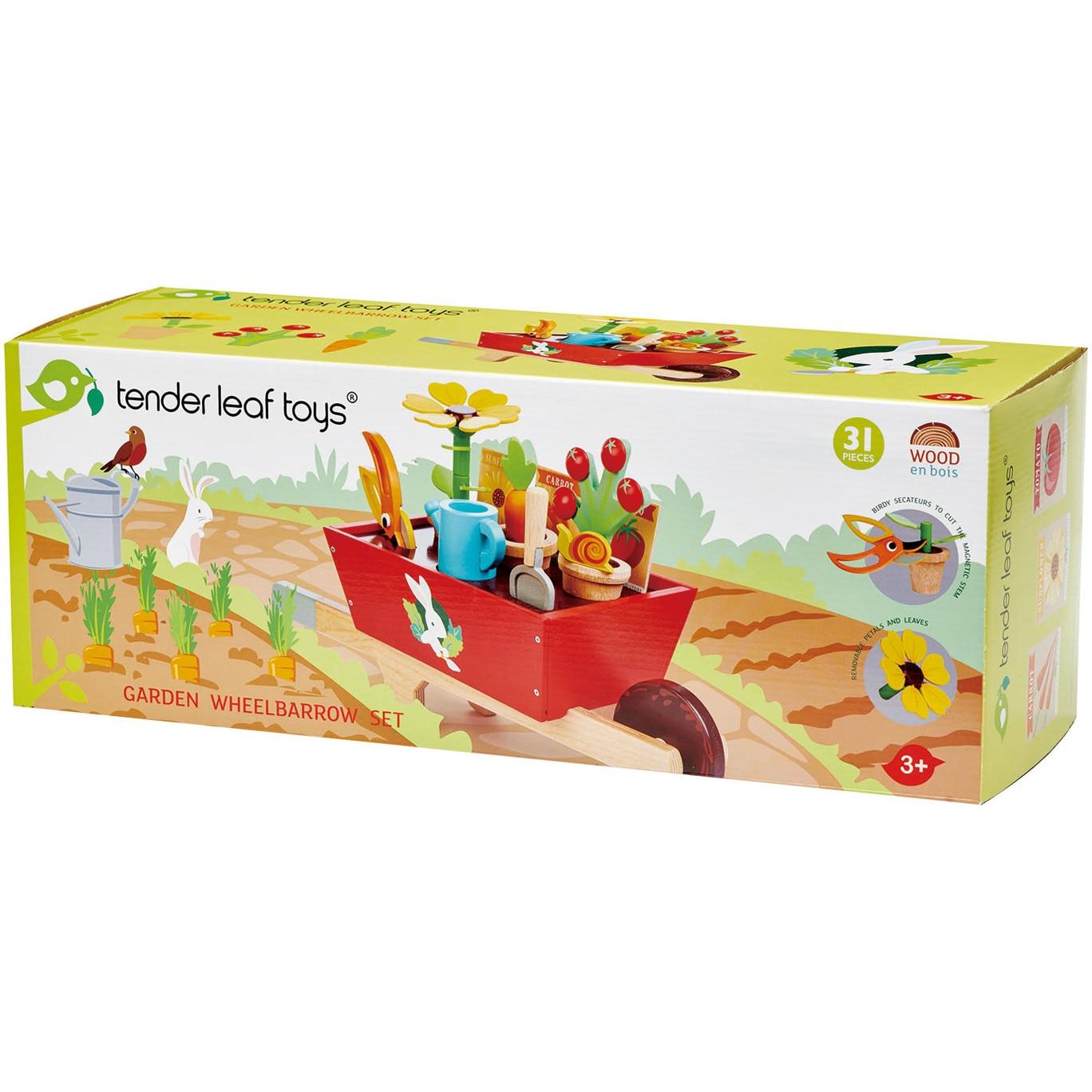 Fotografie Set de joaca din lemn Tender Leaf Toys - Roaba cu unelte de gradinarit, 31 piese