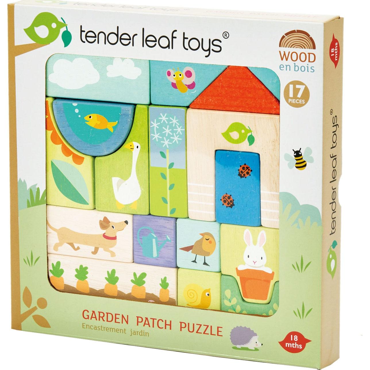Fotografie Cuburi din lemn Tender Leaf Toys - Colt de gradina, 17 piese