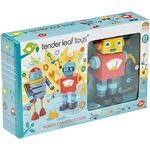 Комплект 2 фигурки Tender Leaf Toys - Изграждане на роботи, Дървени, 17 части