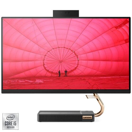"Fotografie Sistem All-in-One Lenovo IdeaCentre 5 24IMB05 cu procesor Intel® Core™ i5-10400T pana la 3.60 GHz, Comet Lake, 23.8"", Full HD, IPS, 8GB DDR4, 256GB SDD, Intel UHD Graphics, Free DOS, External USB DVD-RW"