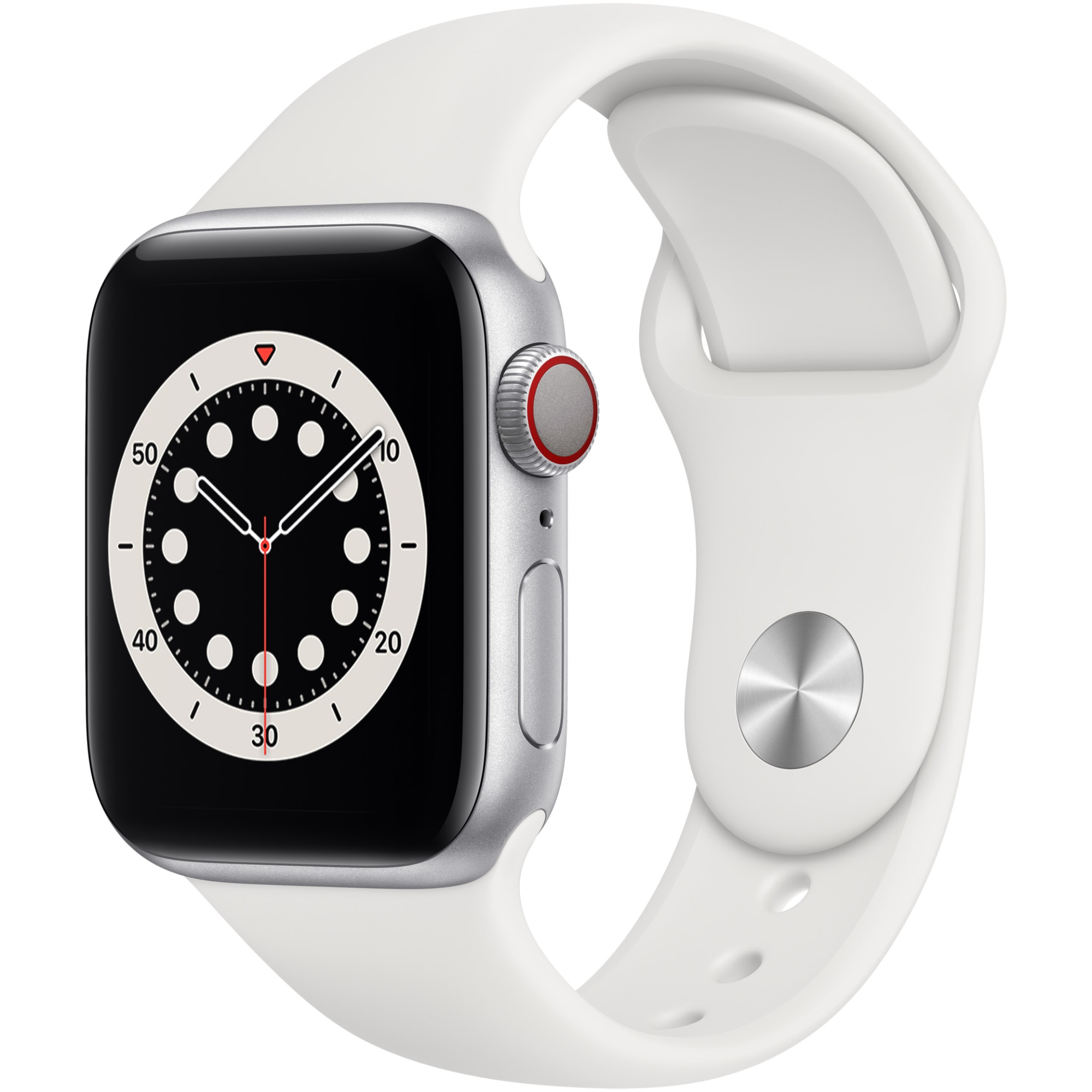 Fotografie Apple Watch 6, GPS, Cellular, Carcasa Silver Aluminium 40mm, White Sport Band