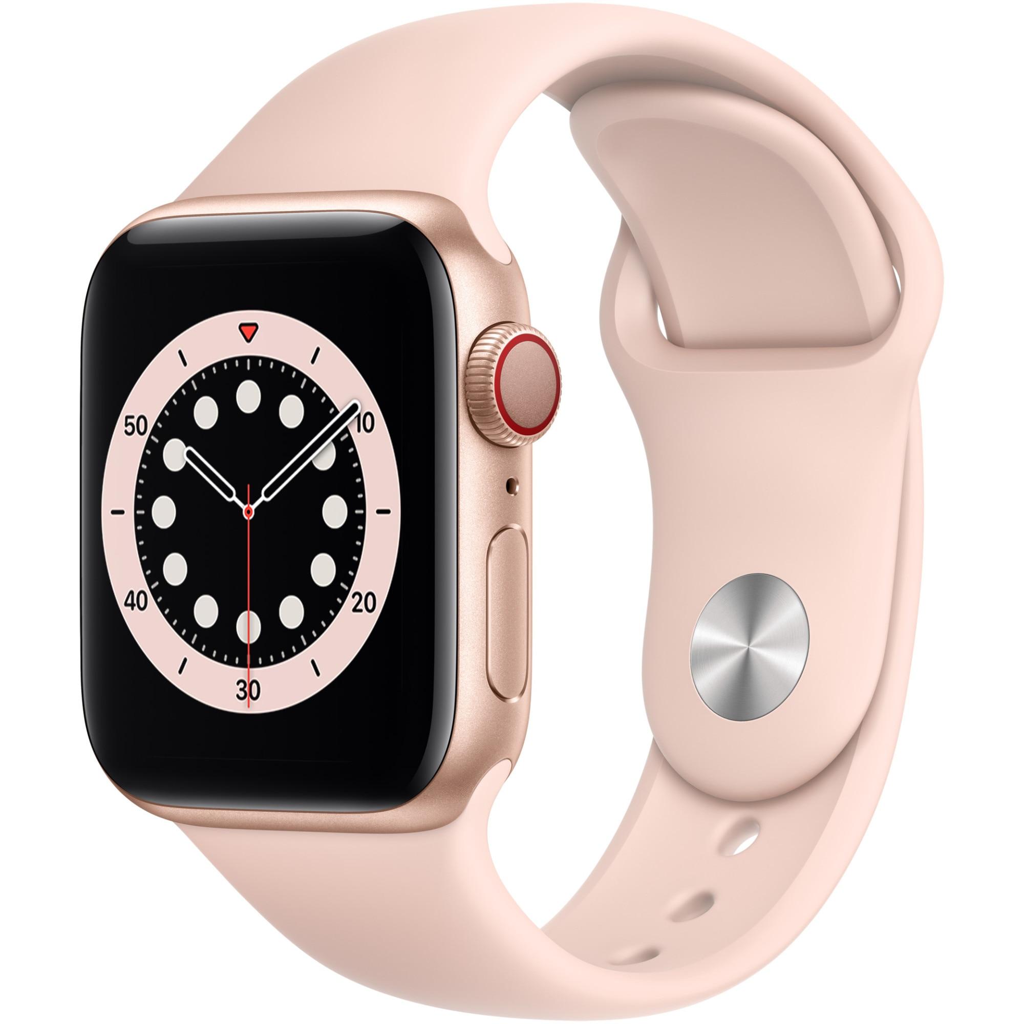 Fotografie Apple Watch 6, GPS, Cellular, Carcasa Gold Aluminium 40mm, Pink Sand Sport Band