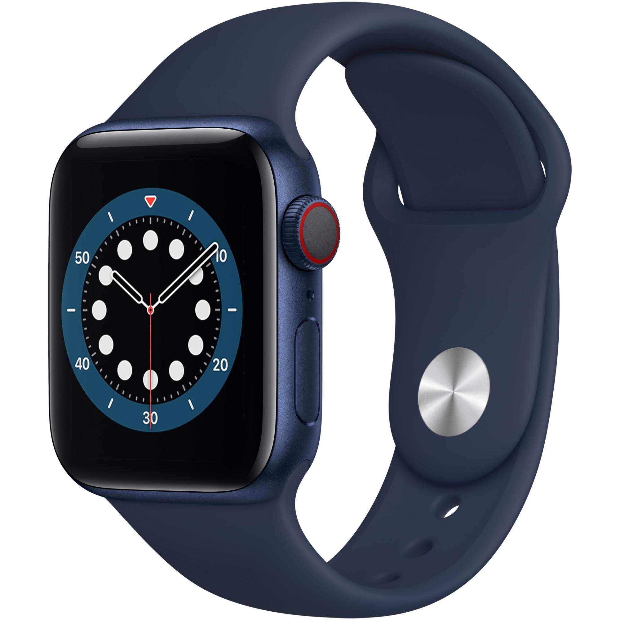 Fotografie Apple Watch 6, GPS, Cellular, Carcasa Blue Aluminium 40mm, Deep Navy Sport Band