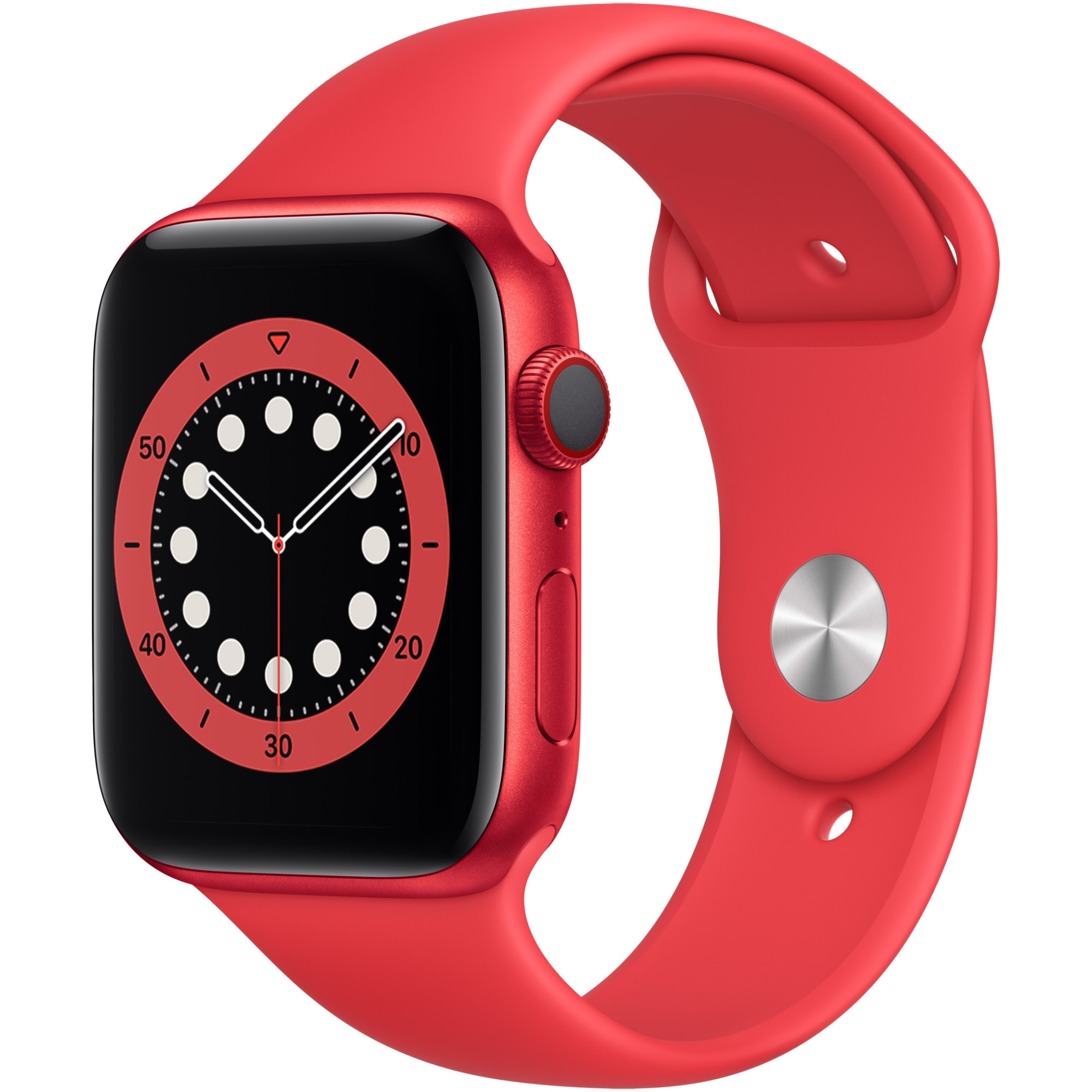 Fotografie Apple Watch 6, GPS, Cellular, Carcasa Red Aluminium 44mm, Red Sport Band