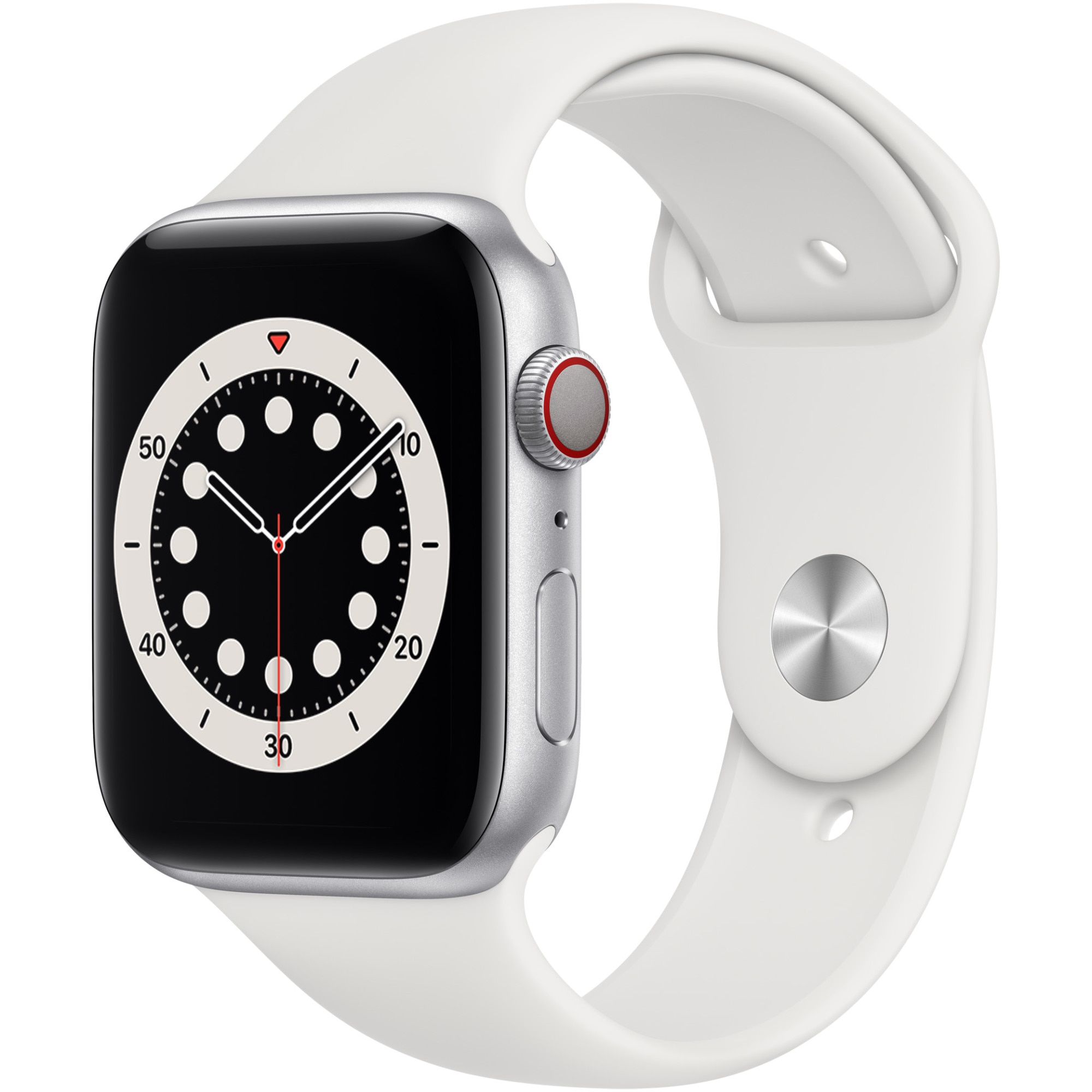 Fotografie Apple Watch 6, GPS, Cellular, Carcasa Silver Aluminium 44mm, White Sport Band