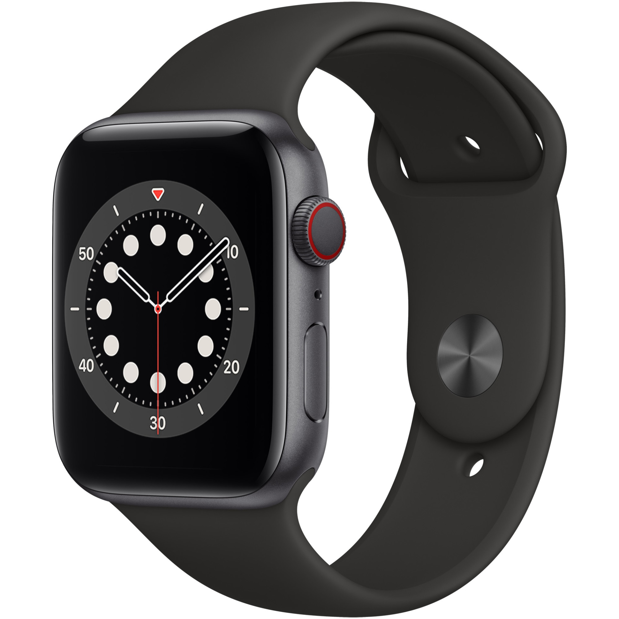 Fotografie Apple Watch 6, GPS, Cellular, Carcasa Space Gray Aluminium 44mm, Black Sport Band