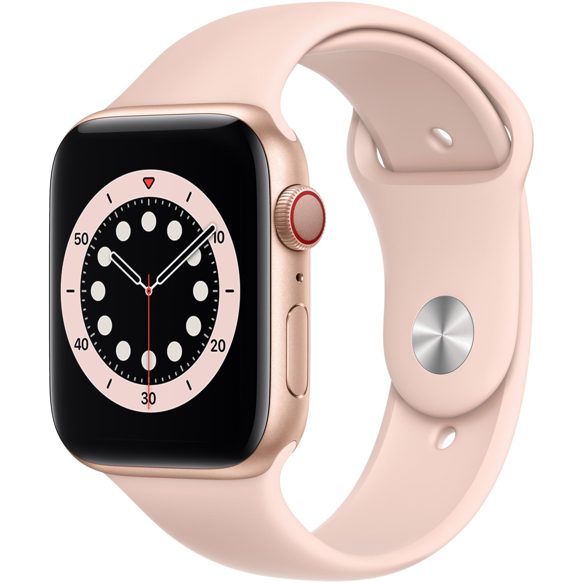 Fotografie Apple Watch 6, GPS, Cellular, Carcasa Gold Aluminium 44mm, Pink Sand Sport Band